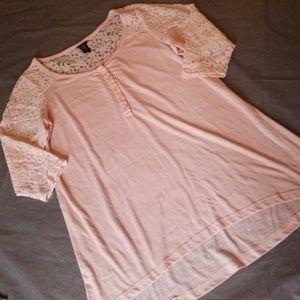 Torrid 3/4 Sleeve Sheer Lace High Low Blouse Top